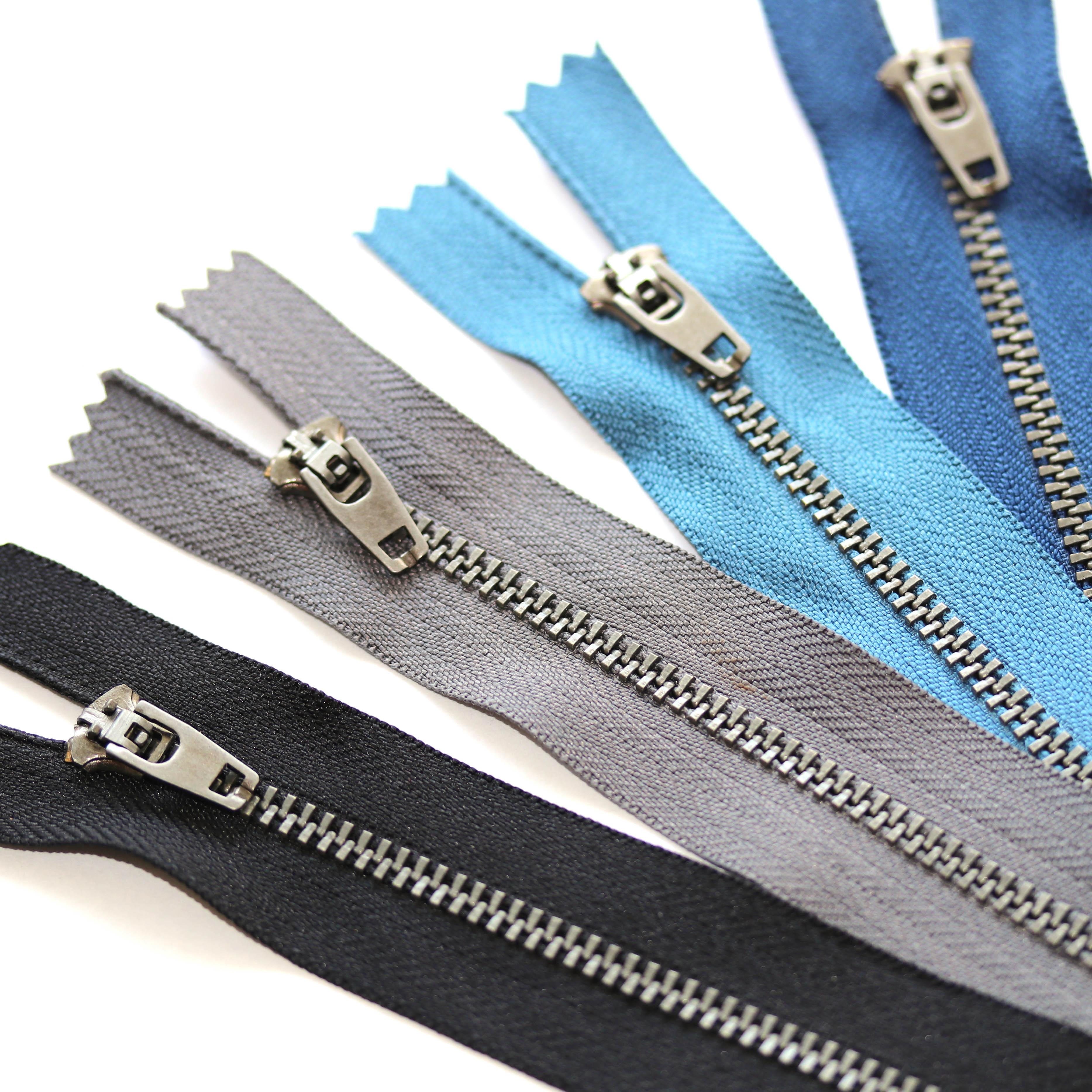 Metall Reißverschluss 4mm nicht teilbar Zipper für Jeans Taschen Geldbörse Hosen